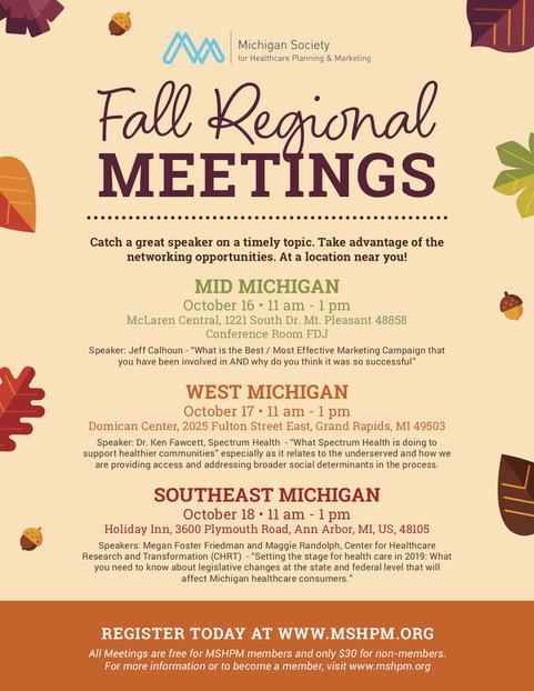 MSHPM_FallRegionalMeetings_Flyer18 | Michigan Society of